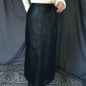 Jessica Holbrook Maxi leather skirt black size 8